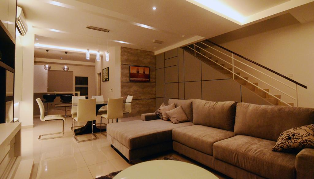 Contemporary, Landed, Living Room, Setia Vista, Interior Designer, JGiConcept Design, Molding, Couch, Furniture, Indoors, Interior Design, Room