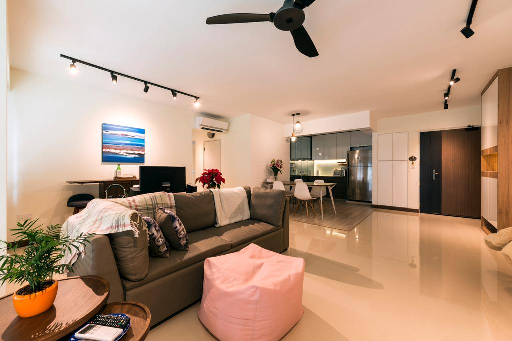 Modern, HDB, Living Room, Waterway Brooks (Block 677D), Interior Designer, Posh Living Interior Design, Industrial, Flora, Jar, Plant, Potted Plant, Pottery, Vase, Couch, Furniture, Dining Room, Indoors, Interior Design, Room