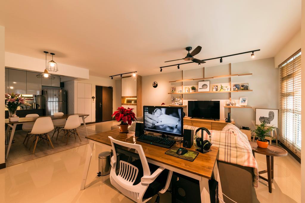 Modern, HDB, Living Room, Waterway Brooks (Block 677D), Interior Designer, Posh Living Interior Design, Industrial, Electronics, Entertainment Center, Animal, Bird, Swallow, Chair, Furniture