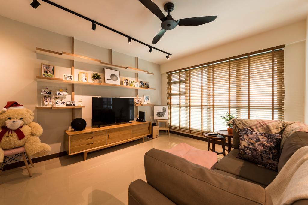 Modern, HDB, Living Room, Waterway Brooks (Block 677D), Interior Designer, Posh Living Interior Design, Industrial, Couch, Furniture, Propeller, Indoors, Interior Design