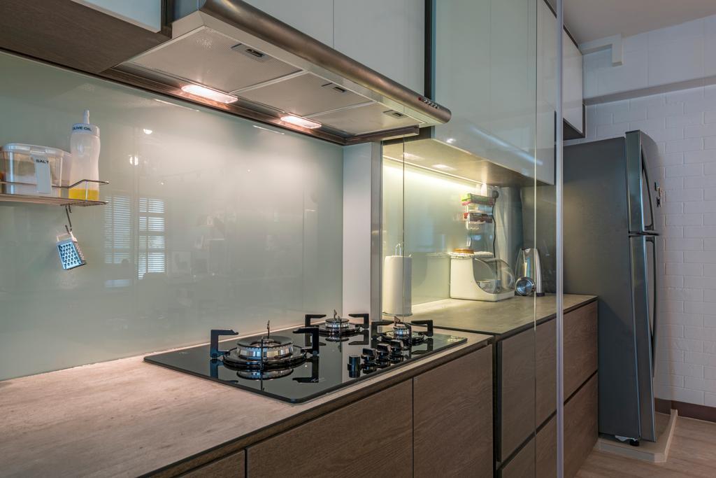 Modern, HDB, Kitchen, Waterway Brooks (Block 677D), Interior Designer, Posh Living Interior Design, Industrial, Indoors, Interior Design, Room, Sink