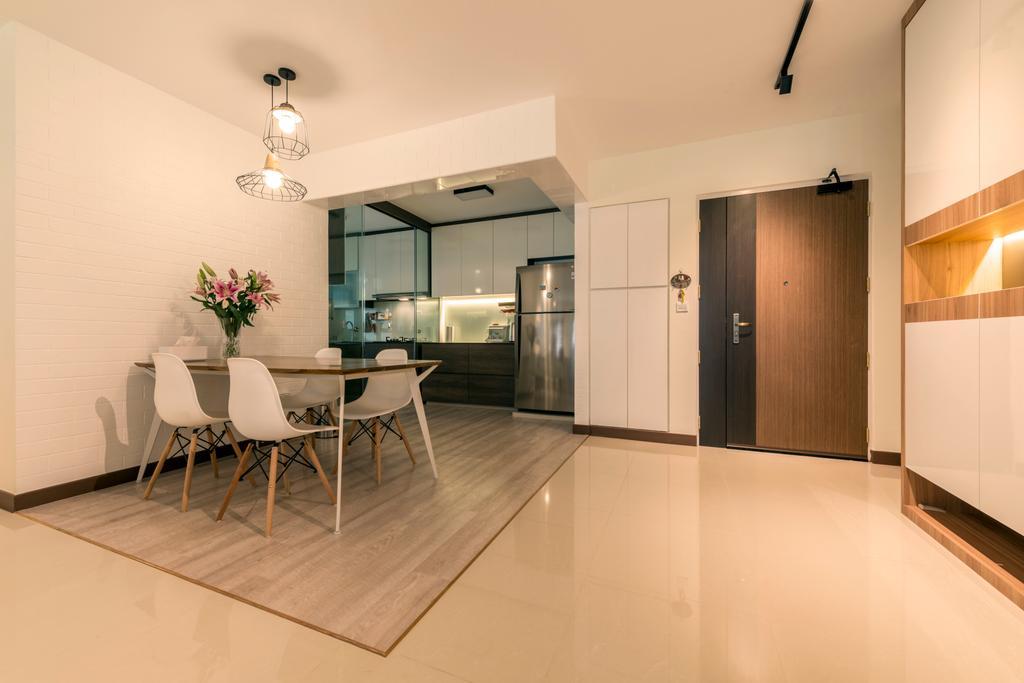 Modern, HDB, Dining Room, Waterway Brooks (Block 677D), Interior Designer, Posh Living Interior Design, Industrial, Dining Table, Furniture, Table, Flooring, Door, Sliding Door, Indoors, Interior Design