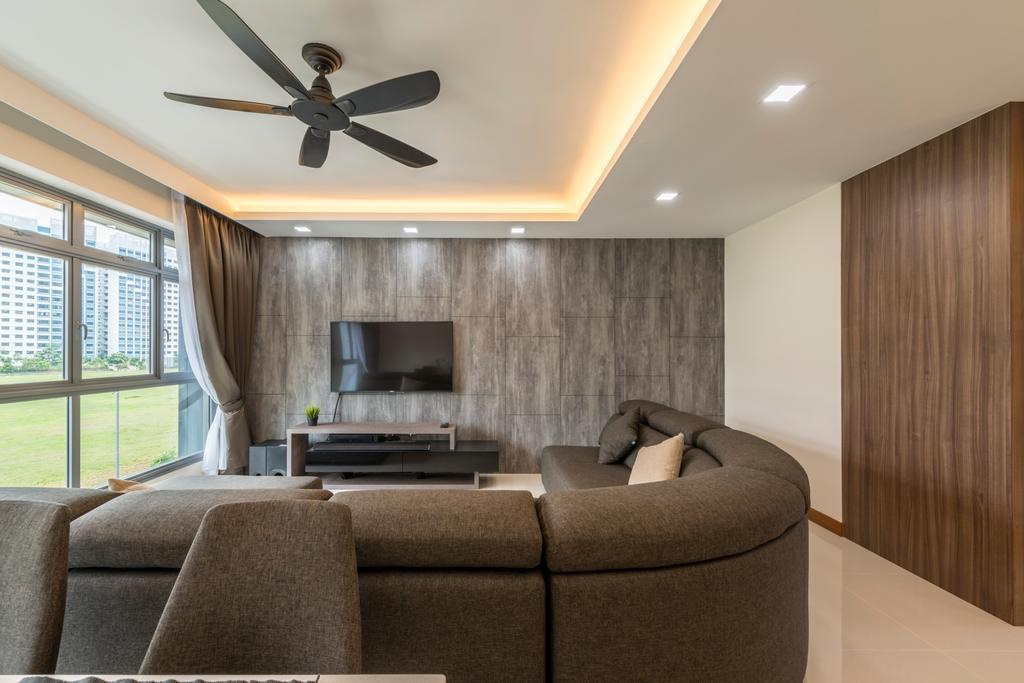 Contemporary, HDB, Living Room, Waterway Cascadia, Interior Designer, Posh Living Interior Design, Couch, Furniture, Architecture, Building, Skylight, Window