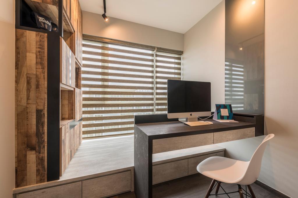 Industrial, Condo, Bedroom, Ecopolitan, Interior Designer, Posh Living Interior Design, Chair, Furniture, Indoors, Interior Design