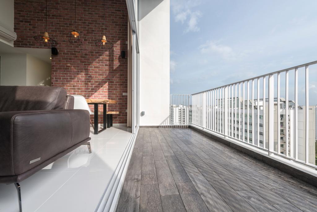 Industrial, Condo, Balcony, Ecopolitan, Interior Designer, Posh Living Interior Design, Chair, Furniture, Deck, Porch