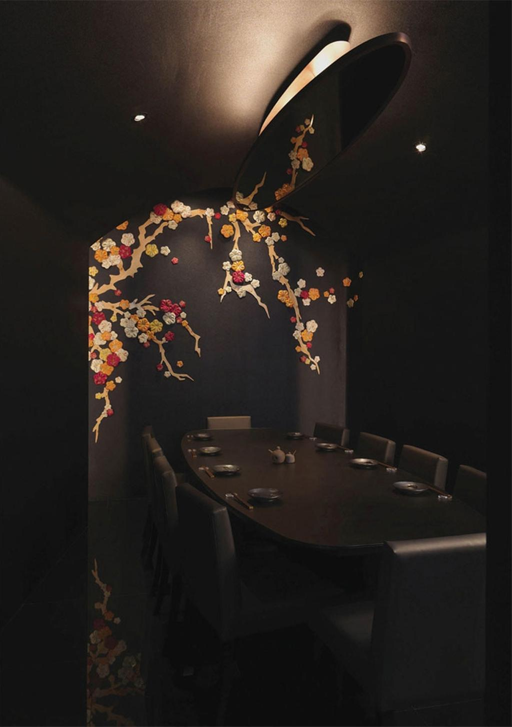 Sho-U Restaurant, Commercial, Architect, Ministry of Design, Transitional, Dining Room, Indoors, Interior Design, Room, Embroidery, Ornament