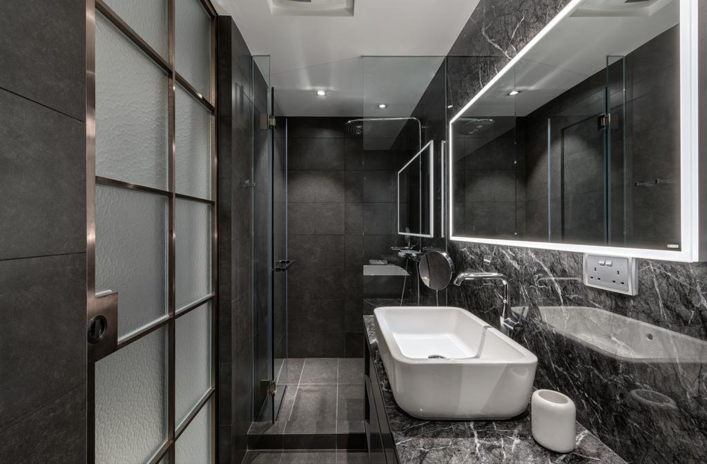 北歐, 私家樓, 浴室, 迎海, 室內設計師, in Him's Interior Design, Indoors, Interior Design, Room, Bathtub, Tub