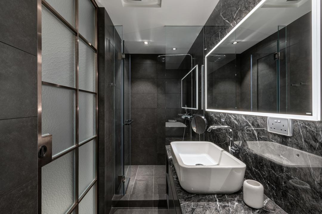 迎海, in Him's Interior Design, 北歐, 浴室, 私家樓, Indoors, Interior Design, Room, Bathtub, Tub