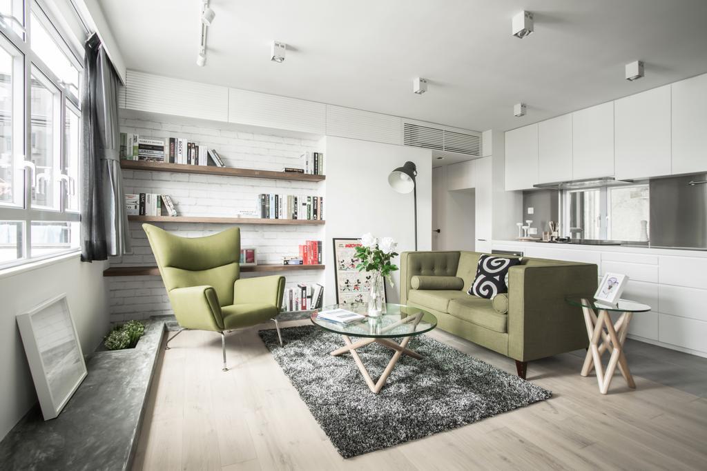 北歐, 私家樓, 客廳, HFC3, 室內設計師, in Him's Interior Design, Indoors, Interior Design, Room, Bar Stool, Furniture, 公屋/居屋, Building, Housing, Loft