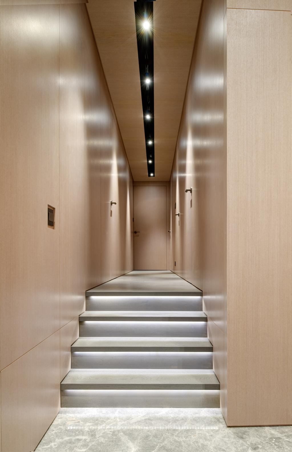 摩登, 私家樓, 客廳, 名家匯, 室內設計師, in Him's Interior Design, 過渡時期, Banister, Handrail, Staircase