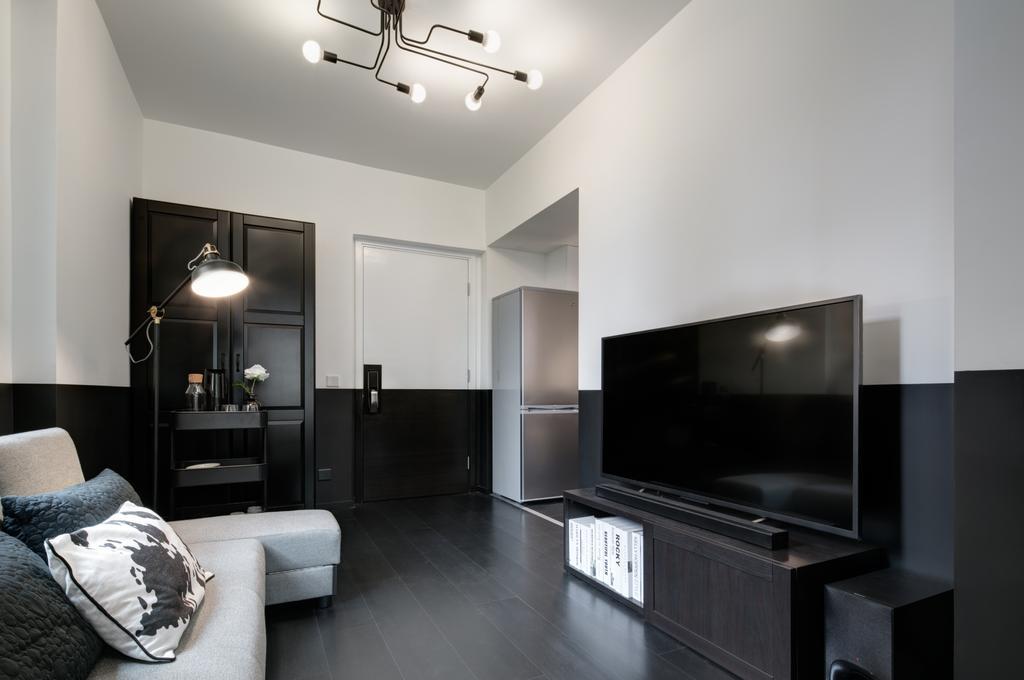 簡約, 私家樓, 客廳, 好順意大廈, 室內設計師, in Him's Interior Design, 過渡時期, Furniture, Sideboard, Indoors, Room, Light Fixture, Electronics, Lcd Screen, Monitor, Screen