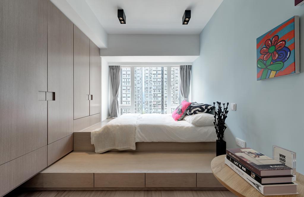 北歐, 私家樓, 睡房, 麗港城, 室內設計師, in Him's Interior Design, Bed, Furniture, Indoors, Interior Design, Room