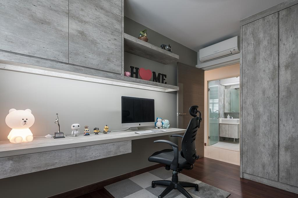 Modern, HDB, Study, Edgefield Plains (Block 673C), Interior Designer, Weiken.com, Building, Housing, Indoors, Loft, Chair, Furniture