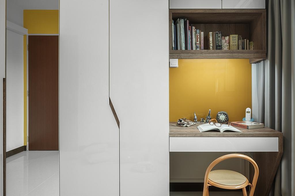 Minimalistic, HDB, Study, Upper Serangoon Crescent (Block 473C), Interior Designer, Weiken.com, Sink, Door, Sliding Door, Collage, Poster, Chair, Furniture