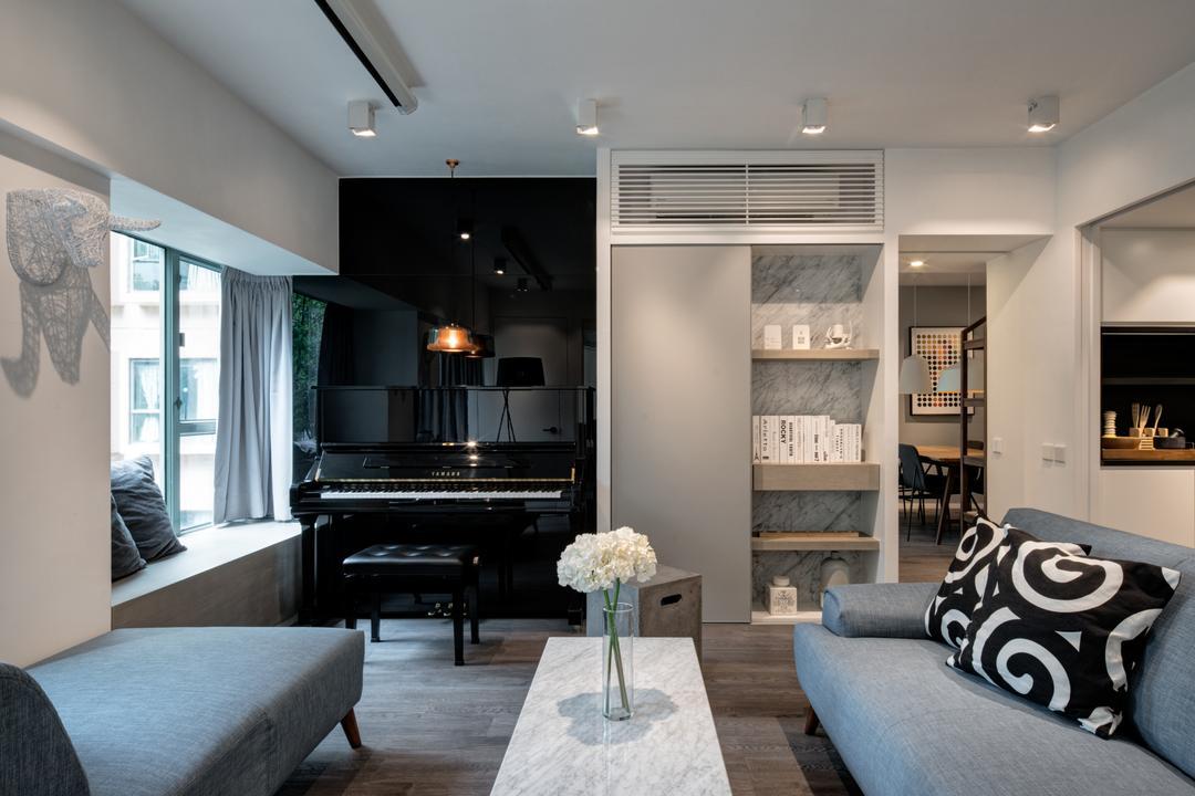 海典居, in Him's Interior Design, 簡約, 北歐, 客廳, 私家樓, Aisle, Indoors, Leisure Activities, Music, Musical Instrument, Piano, Upright Piano, Room