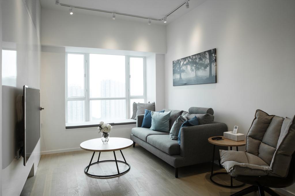 簡約, 私家樓, 客廳, 港麗豪園, 室內設計師, in Him's Interior Design, 北歐, Coffee Table, Furniture, Table, Chair, Couch, Dining Table