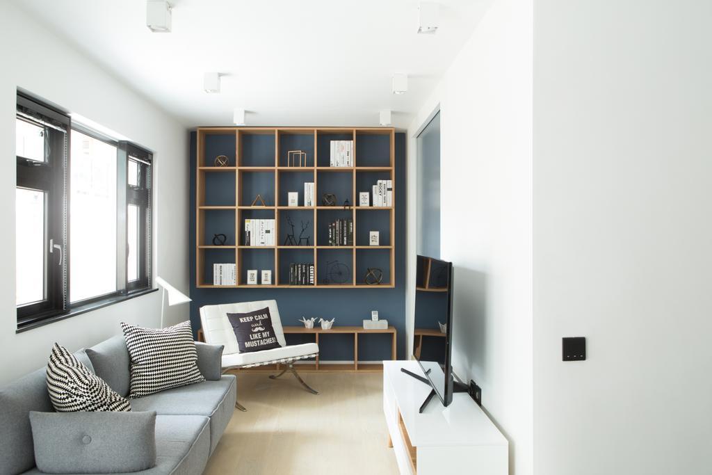 簡約, 私家樓, 客廳, 黃魚灘, 室內設計師, in Him's Interior Design, 北歐, Couch, Furniture, Shelf, Chair