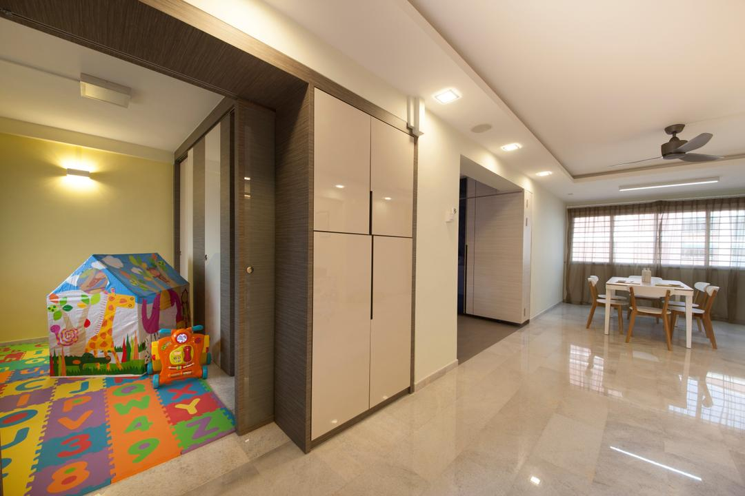Jalan Tenaga, Boon Siew D'sign, Traditional, Living Room, HDB, Marble Tile, Tile, Cabinet, Reflective, Sheen, Kids Corner, Playmat, Play Mat, Kids Mat, Recessed Lighting, Ceiling Fan, Curtain, Dining Table, Furniture, Table, Dining Room, Indoors, Interior Design, Room, Flooring, Home Decor, Quilt