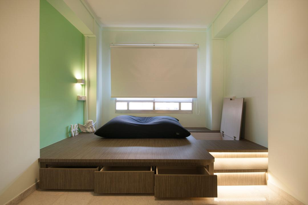 Jalan Tenaga, Boon Siew D'sign, Traditional, Bedroom, HDB, Bed On Platform, Platform Storage, Cove Lighting, Blinds, Mint Green, Green, Mint, Pistachio, Hidden Storage, Bed Storage, Bean Bag, Bed, Furniture, Indoors, Interior Design, Room