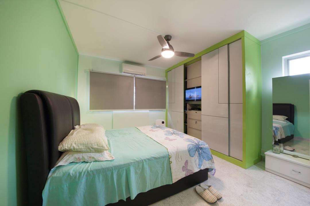 Jalan Tenaga, Boon Siew D'sign, Traditional, Bedroom, HDB, Mint Green, Green, Mint, Pistachio, Apple Green, Ceiling Fan, Traditional Tiles, Tiles, Bed, Furniture