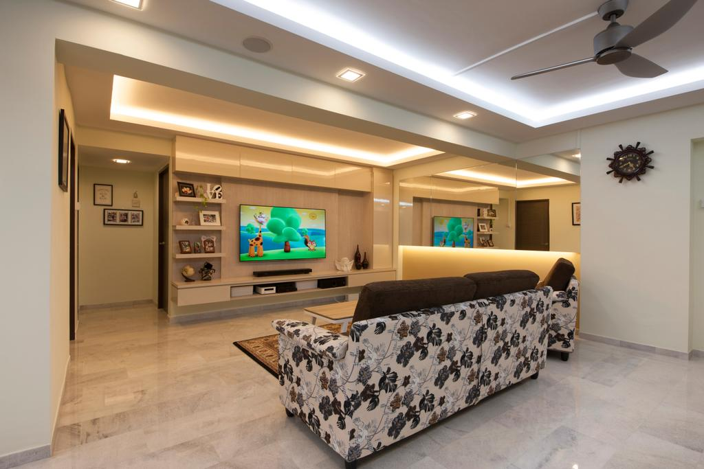 Traditional, HDB, Living Room, Jalan Tenaga, Interior Designer, Boon Siew D'sign, Tiles, Marble Tile, Sofa, Patterned Sofa, Couch, Furniture, Electronics, Entertainment Center, Home Theater, Lighting, Indoors, Room