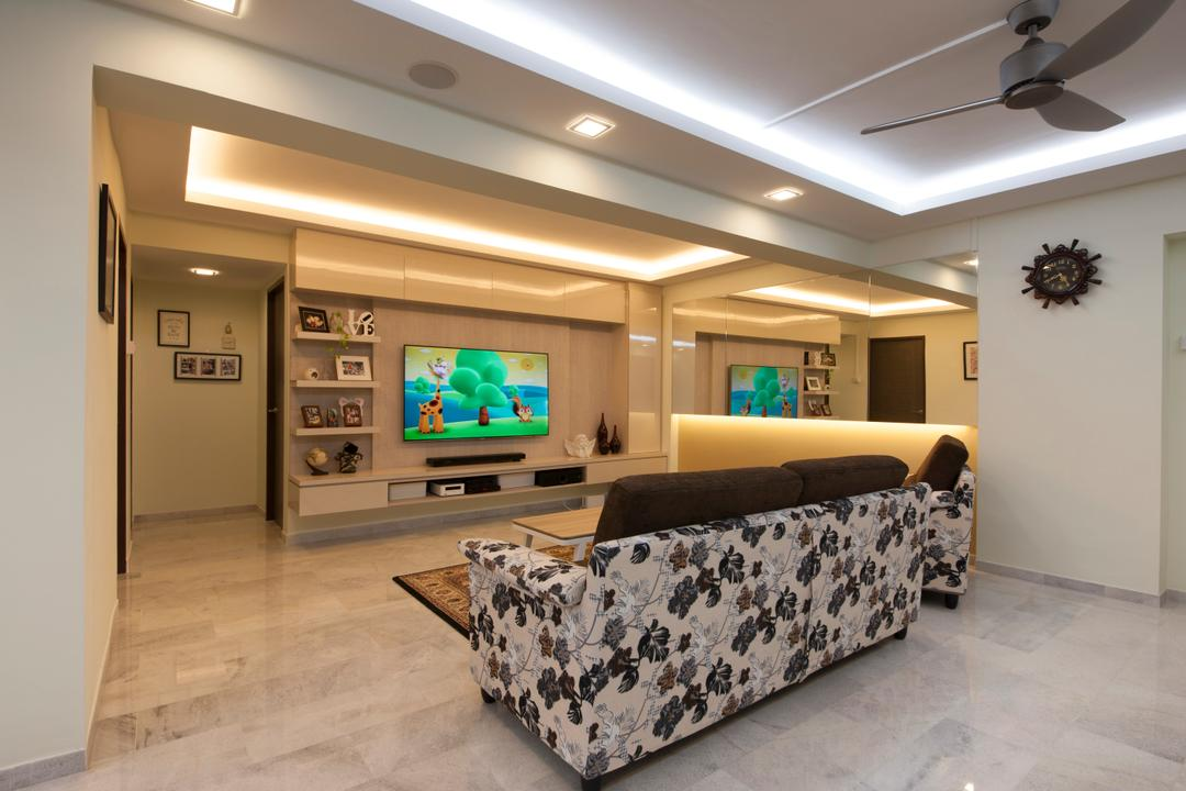Jalan Tenaga, Boon Siew D'sign, Traditional, Living Room, HDB, Tiles, Marble Tile, Sofa, Patterned Sofa, Couch, Furniture, Electronics, Entertainment Center, Home Theater, Lighting, Indoors, Room