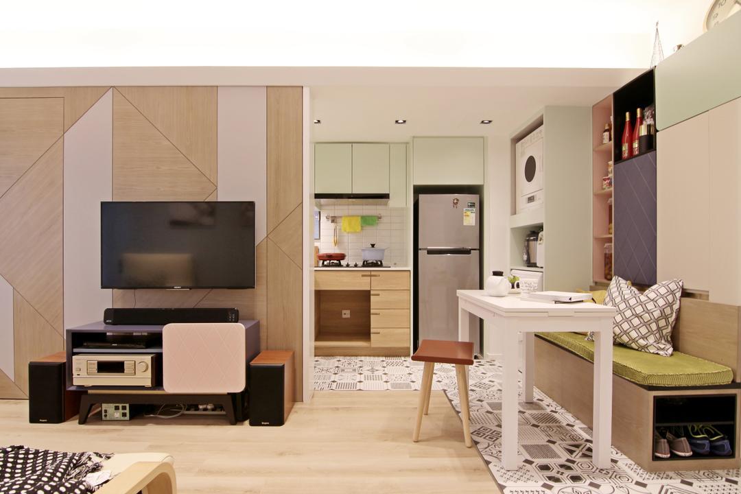 將軍澳中心, Bel Concetto, 客廳, 私家樓, Pastel, Small Home, Compact, Open Concept, Indoors, Interior Design