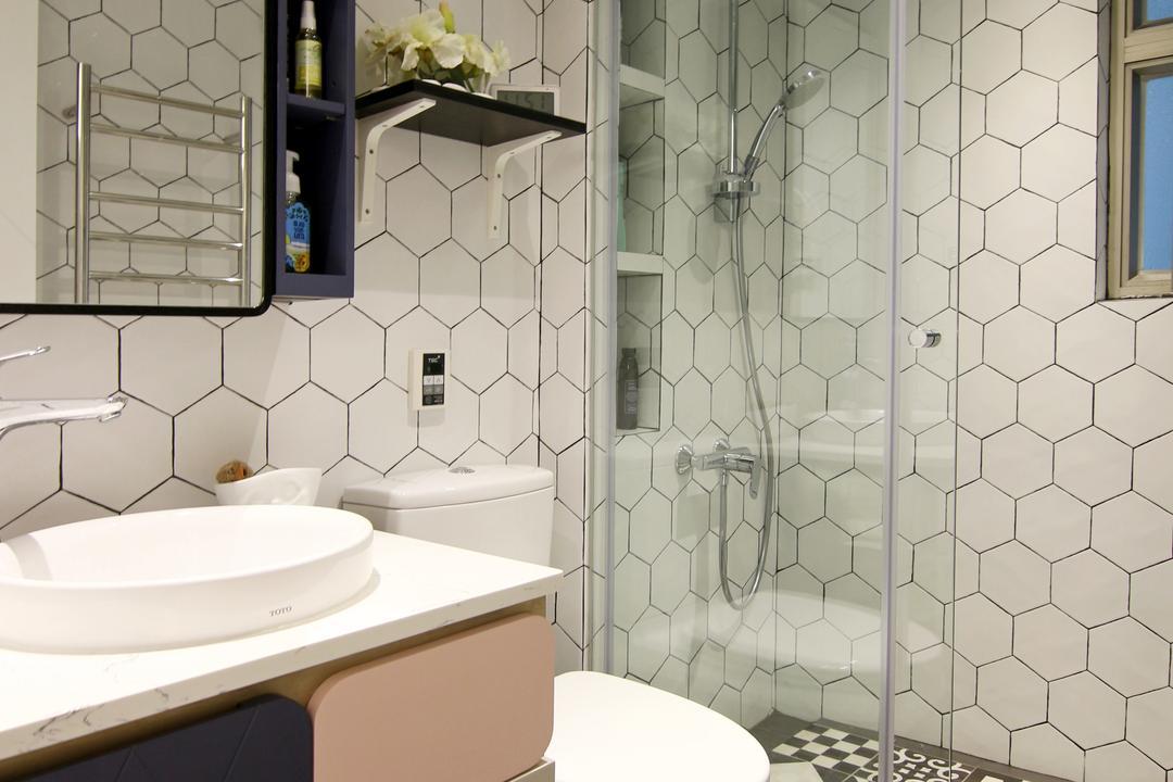 將軍澳中心, Bel Concetto, 浴室, 私家樓, Monochrome, Pastel, Black And White, Indoors, Interior Design, Room