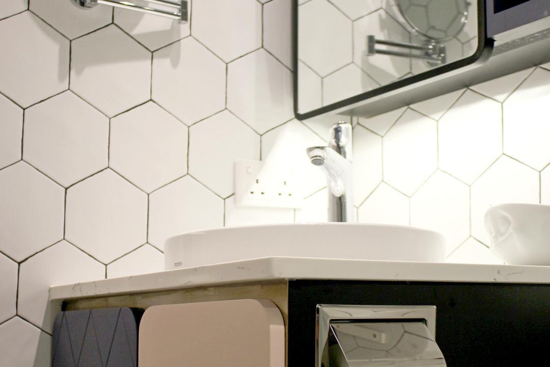 將軍澳中心, Bel Concetto, 浴室, 私家樓, Honeycomb Tiles, Hexagonal Tiles, Tiles, Monochrome, Pastel