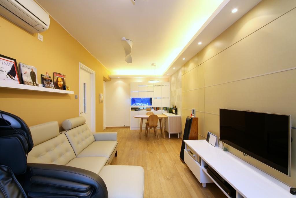 當代, 私家樓, 客廳, 維景灣畔, 室內設計師, Art Deco Design, Couch, Furniture, Chair, Molding
