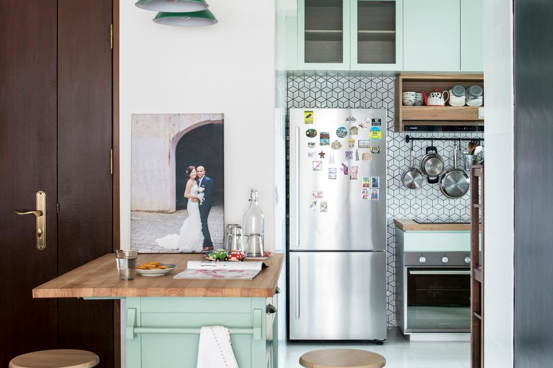Ang Mo Kio, Prozfile Design, Scandinavian, Kitchen, HDB, Dry Kitchen, Kitchen Island, Kitchen Counter, Counter, Bar Stool, Mint, Green, Pistachio, Country Style, English Style, Pendant Lamp, Kitchen Entrance, Sink, Appliance, Electrical Device, Oven, Bride, Human, Person, Wedding