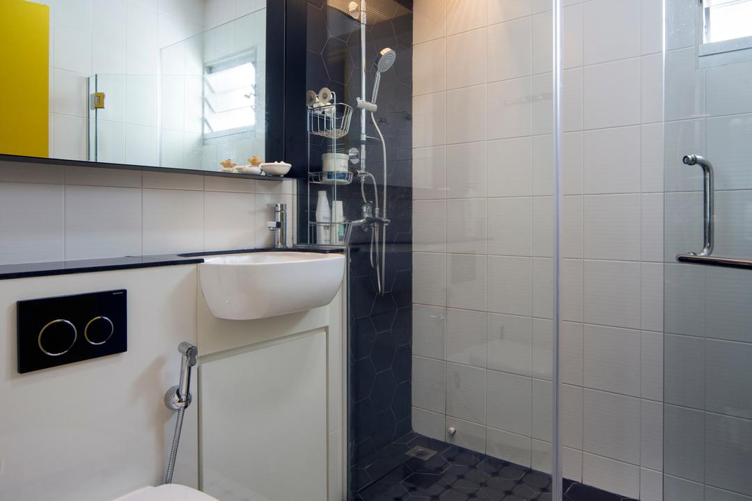 Ang Mo Kio, Prozfile Design, Scandinavian, Bathroom, HDB, Colonial, Old School, Honeycomb Tiles, Tiles, Mirror, Glass Door, Shower Screen, Glass Screen, Monochrome, Black And White, Grid Tile, Square Tile, Pattern, Patterned Tiles, Indoors, Interior Design, Room
