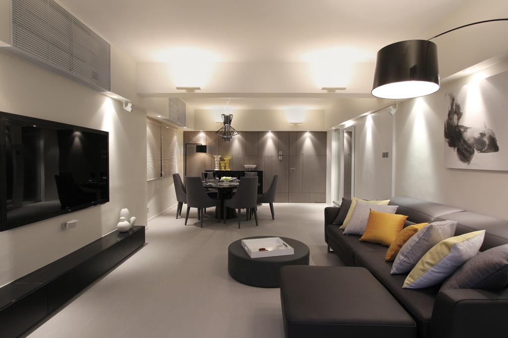 當代, 私家樓, 客廳, 何文田山道, 室內設計師, 泛高設計事務所, 飯廳, Indoors, Interior Design, Room, Lamp, Lampshade, Couch, Furniture, Sink
