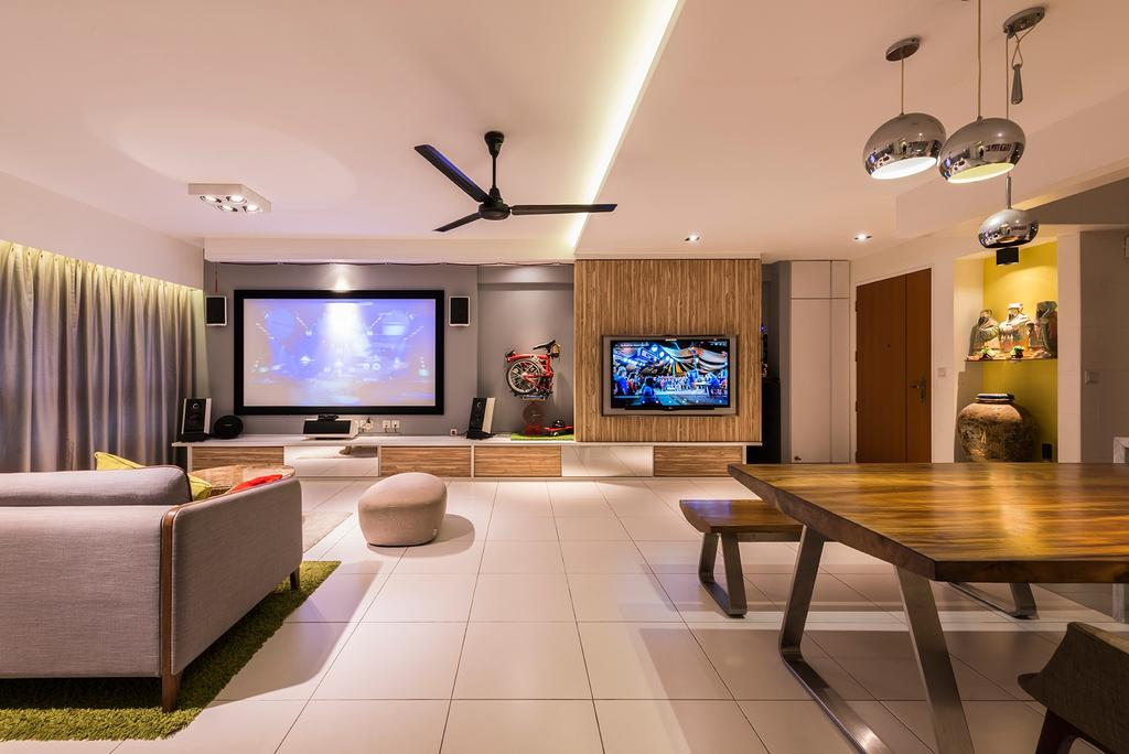 Modern, HDB, Living Room, Blossom Spring, Interior Designer, Create, Dining Table, Furniture, Table, Indoors, Interior Design, Electronics, Entertainment Center, Home Theater