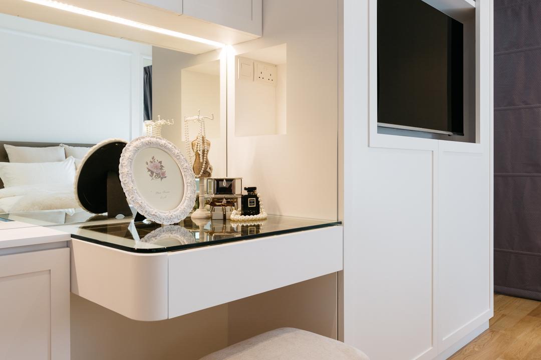 Riversail, Mr Shopper Studio, Vintage, Bedroom, Condo, Vanity, Dresser, Makeup, Make Up, Cosmetics, Grooming, Indoors, Interior Design