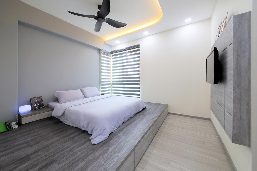 Modern, HDB, Bedroom, Rivervale Crest, Interior Designer, Dap Atelier, Minimalistic, Indoors, Interior Design, Room