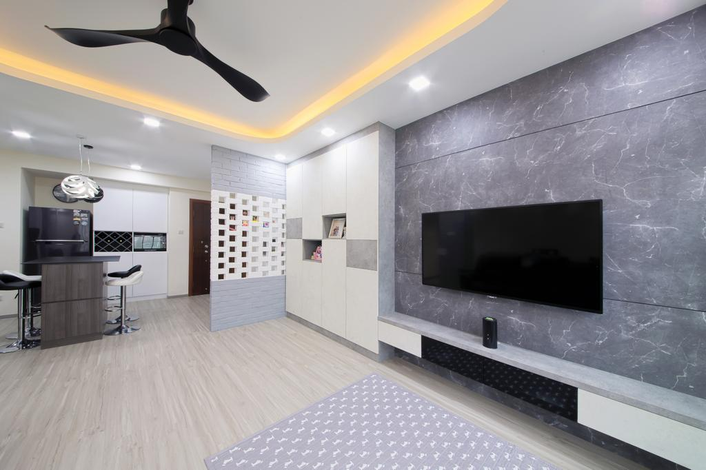 Modern, HDB, Living Room, Rivervale Crest, Interior Designer, Dap Atelier, Minimalistic, Fireplace, Hearth, Indoors, Room