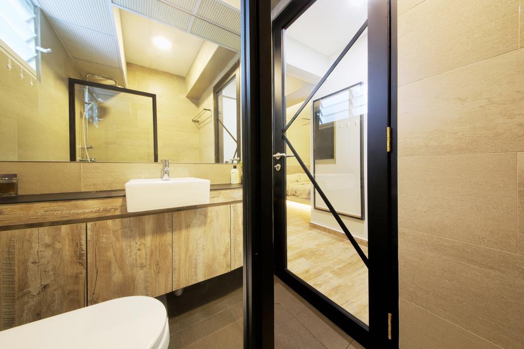 Industrial, HDB, Bathroom, Bendemeer Light, Interior Designer, Dap Atelier, Minimalistic, Indoors, Interior Design, Room