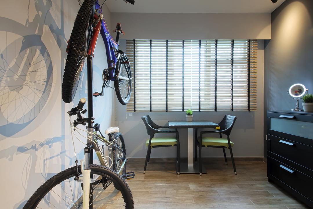 Bendemeer Light, Dap Atelier, Industrial, Minimalist, Study, HDB, Bicycle, Bike, Transportation, Vehicle, Mountain Bike, Furniture, Sideboard