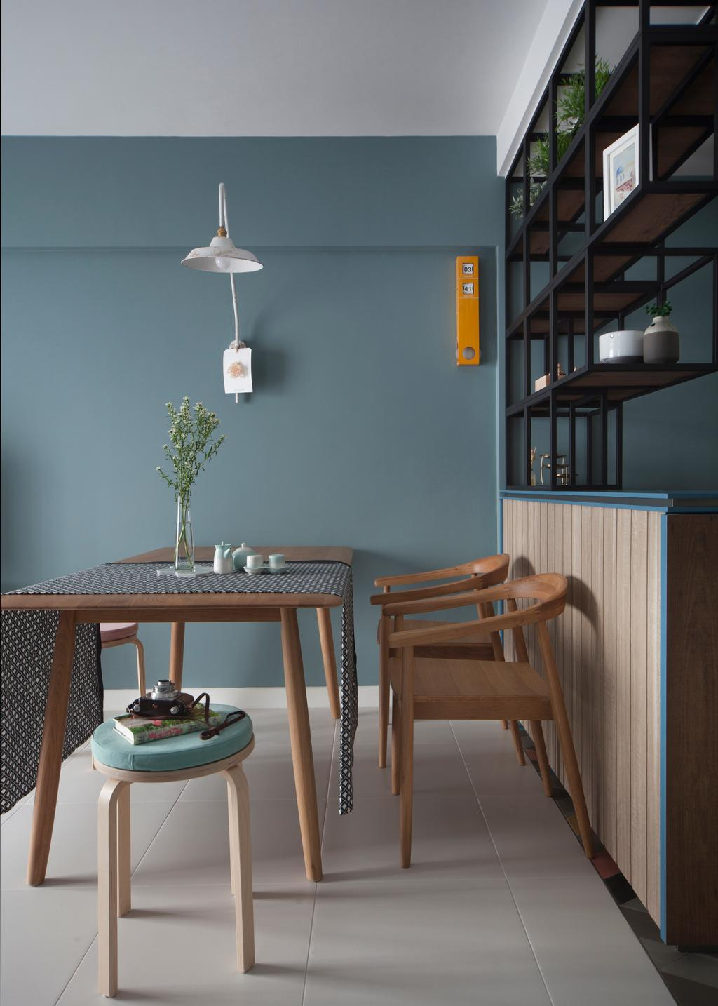 Eclectic, HDB, Dining Room, Skyville@Dawson (Block 87), Interior Designer, The Scientist, Chair, Furniture, Indoors, Interior Design, Room, Light Fixture, Shelf