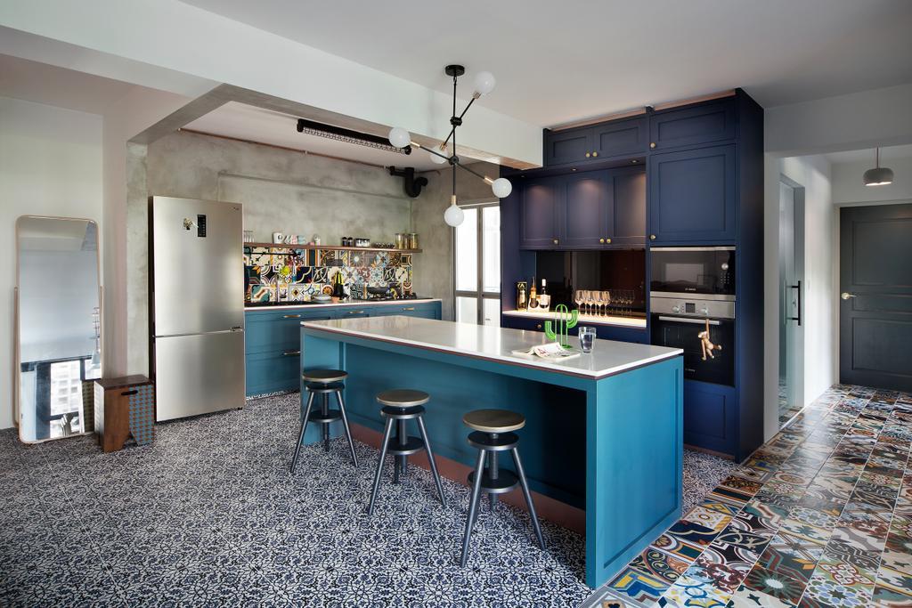 Eclectic, HDB, Kitchen, Upper Serangoon Crescent (Block 473C), Interior Designer, The Scientist, Bar Stool, Furniture