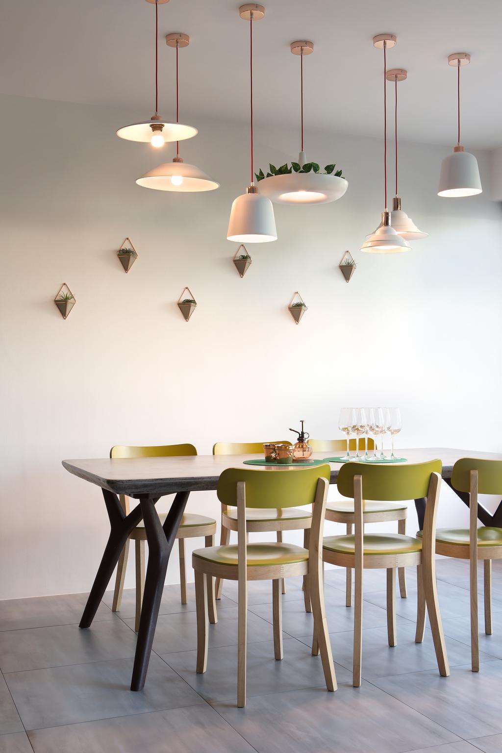 Eclectic, HDB, Dining Room, Upper Serangoon Crescent (Block 473C), Interior Designer, The Scientist, Dining Table, Furniture, Table, Chair, Indoors, Interior Design, Room, Lamp