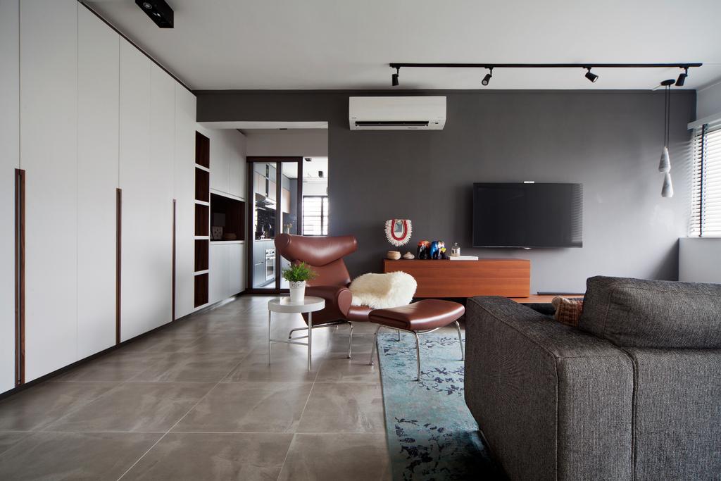 Eclectic, HDB, Living Room, Tampines Street 45 (Block 491E), Interior Designer, The Scientist, Couch, Furniture, Door, Sliding Door