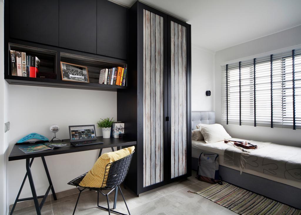 Eclectic, HDB, Bedroom, Tampines Street 45 (Block 491E), Interior Designer, The Scientist, Chair, Furniture, Shelf, Indoors, Interior Design, Room