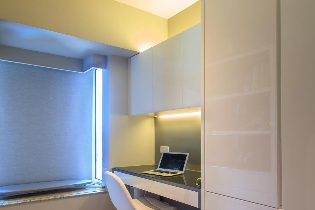 泓景臺, Homing Interior Design, 摩登, 書房, 私家樓, Computer, Electronics, Laptop, Pc, Indoors, Interior Design