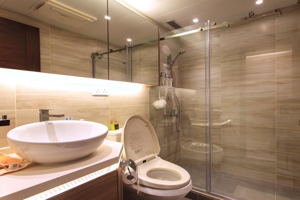 摩登, 私家樓, 浴室, 泓景臺, 室內設計師, Homing Interior Design, Toilet, Indoors, Interior Design, Room, Sink, Furniture, Sideboard