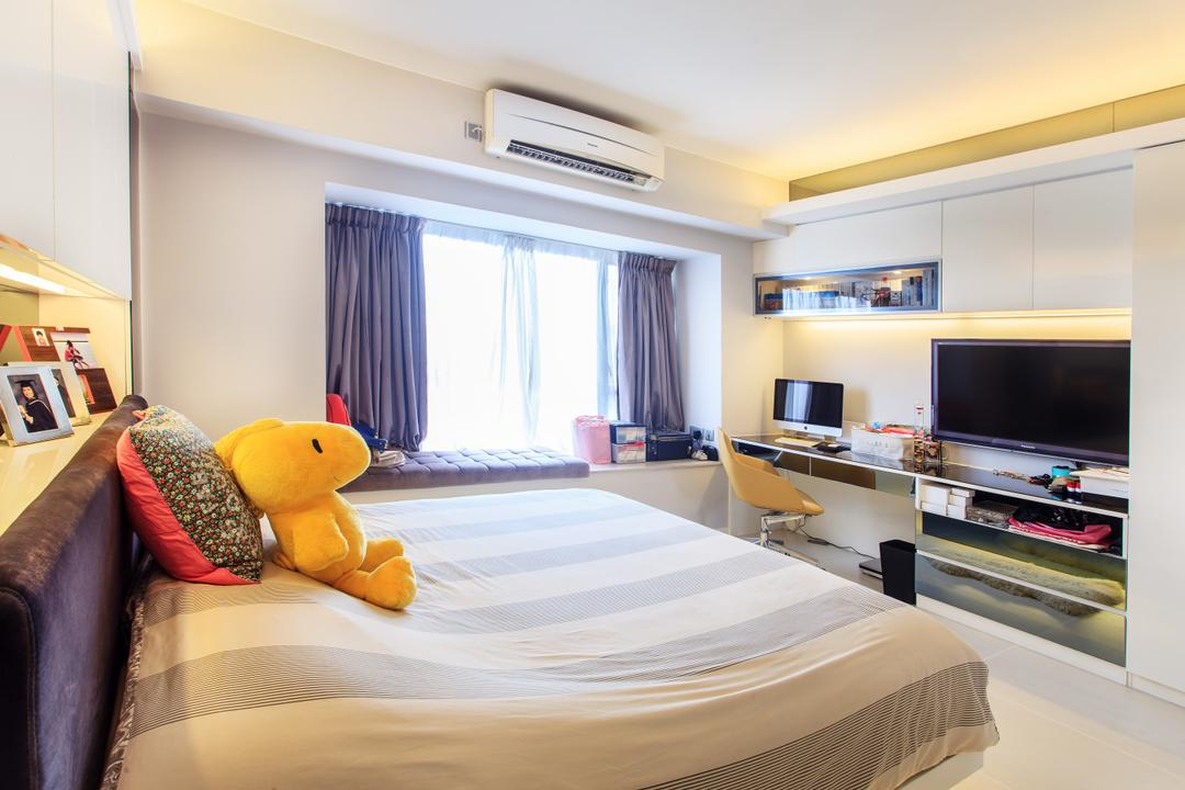 華景山莊, Homing Interior Design, 摩登, 睡房, 私家樓, Bed, Furniture, Indoors, Interior Design, Room, Office