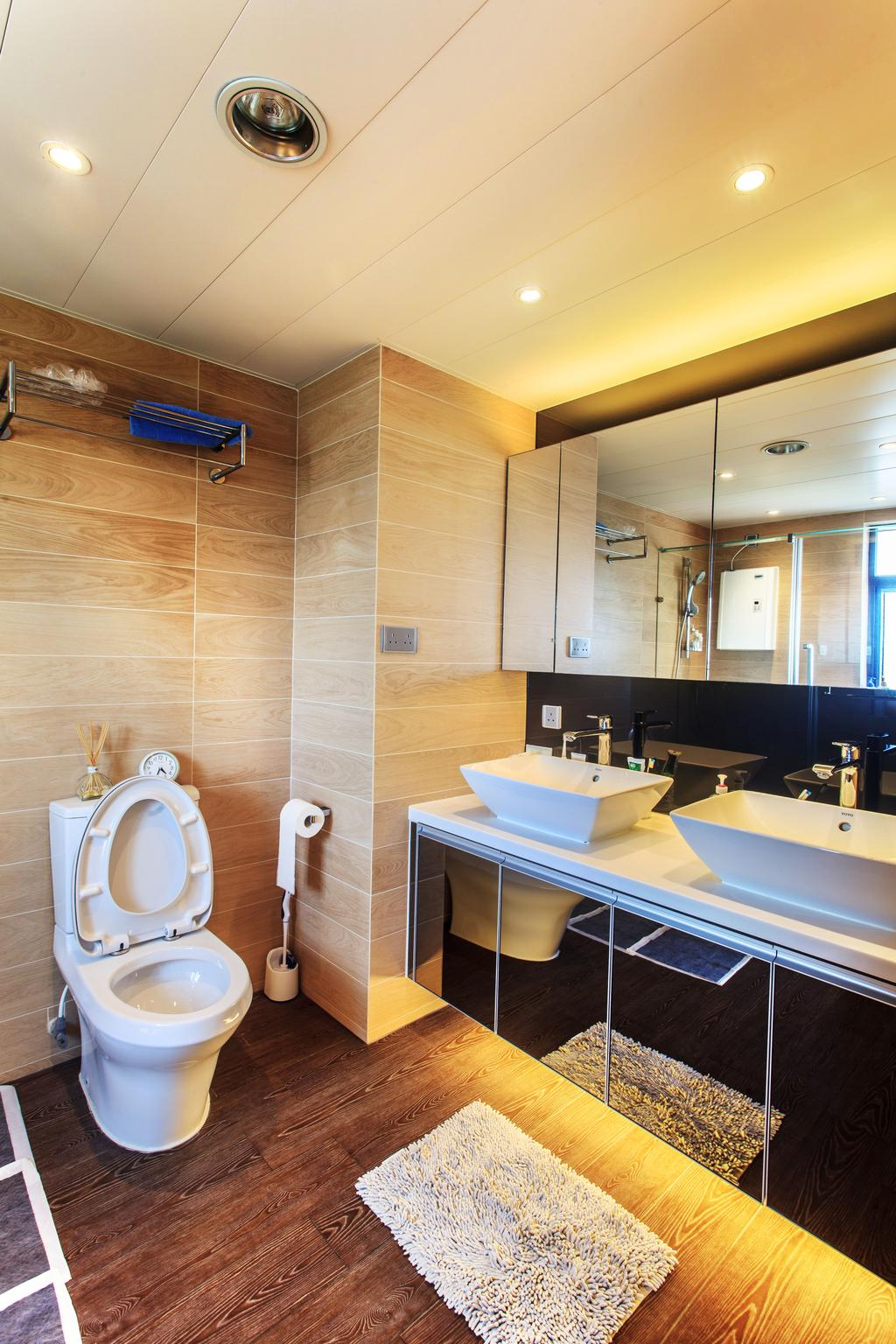 私家樓, 浴室, 華景山莊, 室內設計師, Homing Interior Design, Sink, Toilet, Indoors, Interior Design, Bench, Room