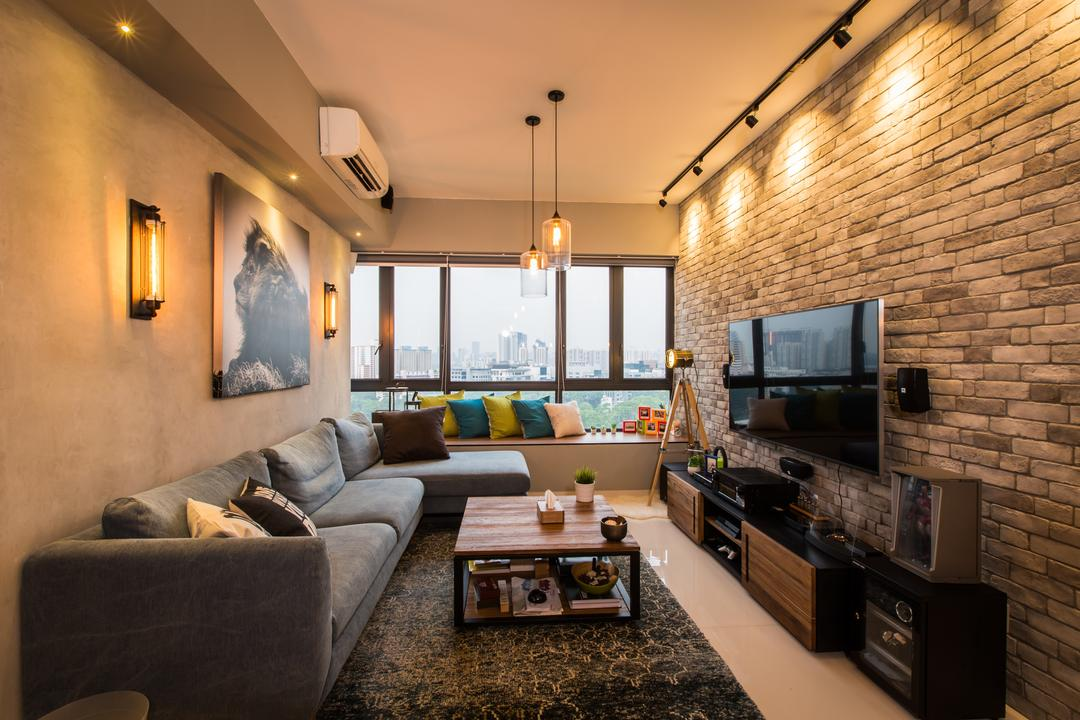 The Interlace, Hall Interiors, Industrial, Living Room, Condo, Craftstone, Brick Wall, Raw, Edgy, Rough Surface, Brick, Surface, Track Lights, Sofa, Coffee Table, Rug, Window Ledge, Bay Window, View, Couch, Furniture, Table