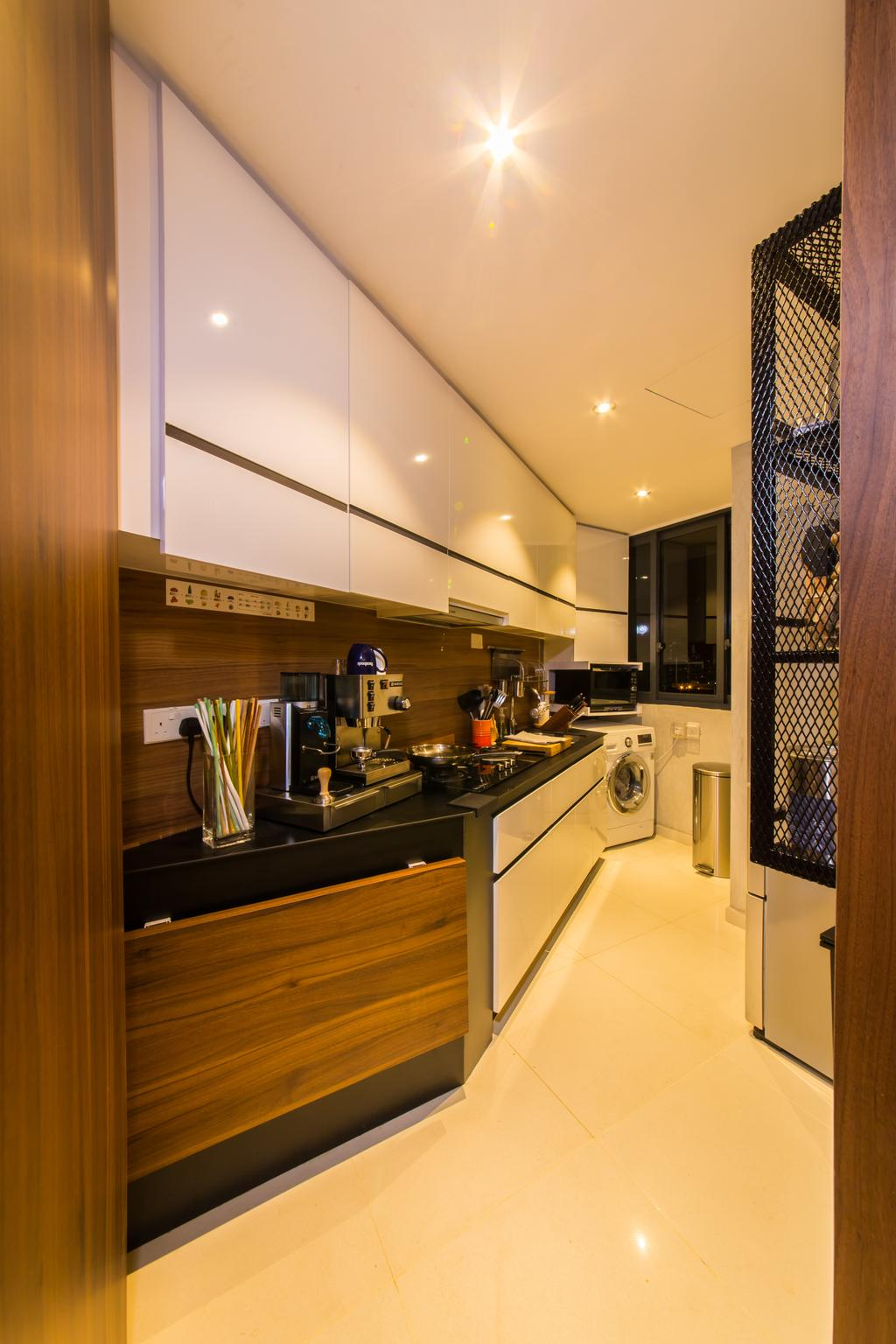 Industrial, Condo, Kitchen, The Interlace, Interior Designer, Hall Interiors, Tiles, White Tiles, Mesh Grille, Kitchen Entrance, Cabinet, Jar, Pottery, Vase, Indoors, Interior Design, Room